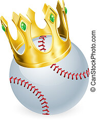 King of baseball concept, a baseball ball wearing a gold...