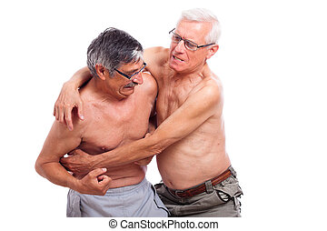 Seniors fight - Two naked seniors fighting, isolated on...
