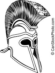 Monochrome Corinthian helmet - Monochrome illustration of a...