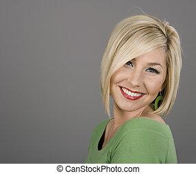 Blonde Head Back Smiling