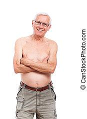 desnudo, sonriente, feliz, anciano, hombre