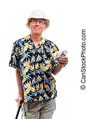 Happy elderly man with money