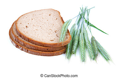 baked bread with ears, on a white background