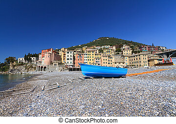 seaside in Sori, Italy - beach in Sori, small village in...