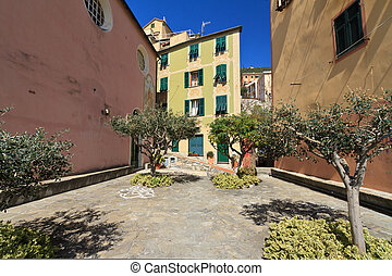 Sori, small square, Italy - typical small square with stone...