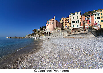 Sori from the beach, Italy - view from the seaside in Sori,...