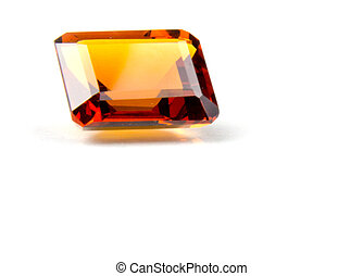Faceted Madeira Citrine Gemstone - Emerald cut faceted...