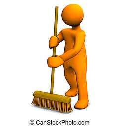 Cleaner - Orange cartoon character with a broom on the white...