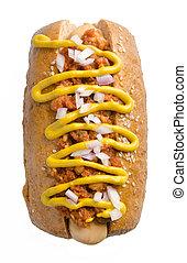Hot dog on the white background