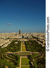 Champ-de-Mars, birds view from Eifell tower, Paris, France