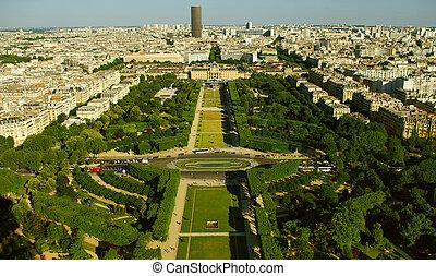 Champ-de-Mars, birds view from Eifell tower, Paris, France