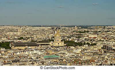 Invalides, birds view from Eifell tower, Paris, France