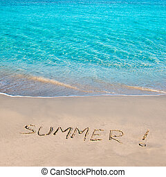 Tropical beach with Summer word written in sand - Caribbean...