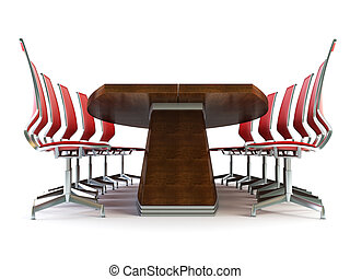 boardroom with table and chairs 3d rendering on white...