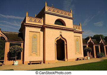 Mosque of Schwetzingen Castle, near Heidelberg, garden,...