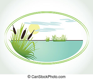 Background with lily and cane Vector card - Background with...