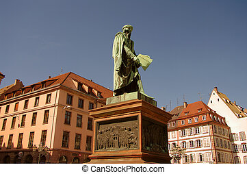 Place Gutenberg and his statue, Strasbourg, France