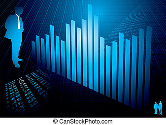 financial figures graph - Business background in blue with...
