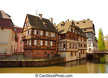 Wood-frame traditional houses in Strasbourg, France