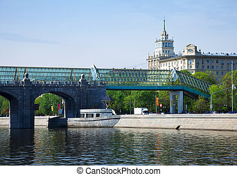 View of Moscow Andreyevsky Bridge and Pushkinsky Pedestrian...
