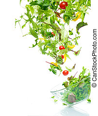 Flying salad. Isolated over white.