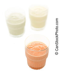 close up of glasses of indian lassi drinks