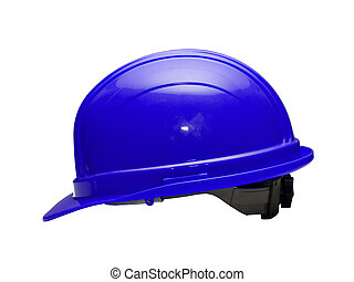 Blue Hard Hat - A close up on a blue hard hat isolated on a...