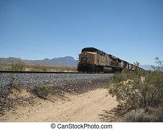 American train approaching - Yellow American train...