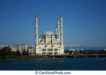 Adana Mosque - Six minarets of mosque in Adana, with viewof...