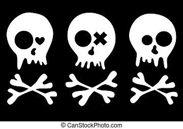 skulls set - Set of skulls isolated on black background. EPS...