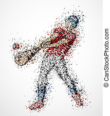 Abstract baseball player, kick the ball. Eps 10