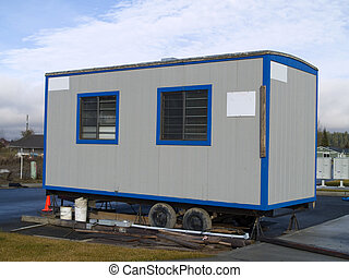 Portable Office - A small portable office on wheels at a...