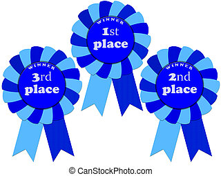 Ribbon awards for first, second and third place isolated on...