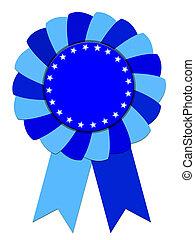 Blue Ribbon Award isolated on white background isolated on...