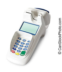 Bank terminal with card reader. Isolated on white