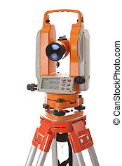 Survey equipment theodolite with digital display. Isolated...