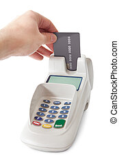 Inserting credit card into bank terminal. Isolated on white