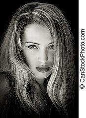 portrait of blond woman - close-up monochrom portrait of...