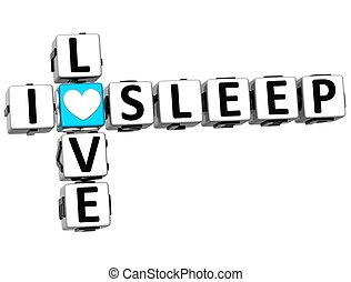 3D I Love Sleep Crossword on white background