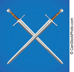 Two swords crossed - Silver metal sword crossed with brown...