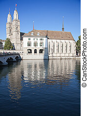"""Grossmunster"" cathedral in Zurich - Famous double-headed..."
