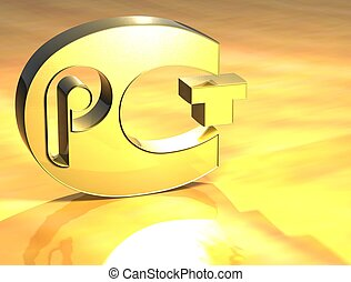 3D Certificat PCT Gold Sign over yellow background