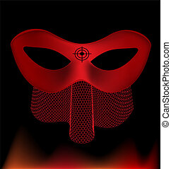 red carnival half-mask - on an black background is a...