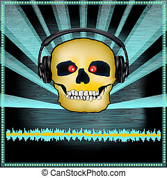 Skull DJ Set Flyer - Background illustration of a DJ...