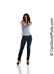Thumb Up - Beautiful business woman with thumbs up