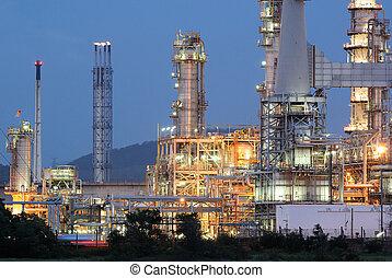 aceite, refinería, crepúsculo