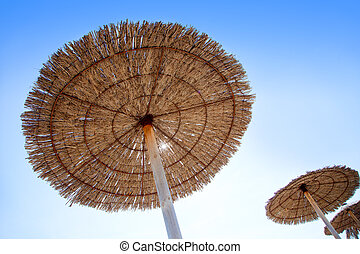 Hut sunroof umbrella on dried grass with lens flare - Hut...