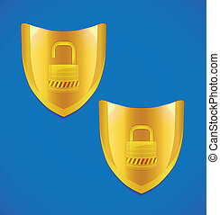 Vector shield and lock icon - Vector golden shield and lock...