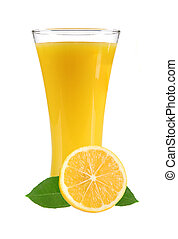 lemon juice with slices of lemon in the glass isolated on...