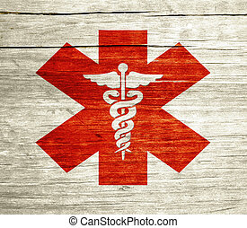 Red Caduceus Grunge - Red Caduceus on wood with grunge...